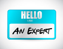 Hello I am an expert name tag illustration design Royalty Free Stock Image