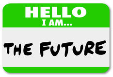 Hello I am the Future Nametag Sticker Change. Hello I Am the Future words on a green nametag or sticker to illustrate inevitable coming change and evolution Stock Photos