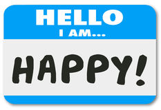 Hello I Am Happy Words Name Tag Satisfied Customer Stock Photos
