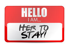 Hello I am here to stay tag illustration Royalty Free Stock Images