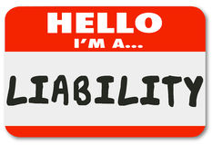 Hello I Am a Liability Red Name Tag Sticker Risk Employee Royalty Free Stock Images