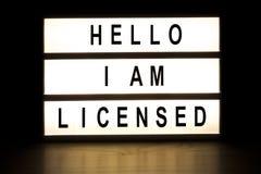 Hello I am licensed light box sign board Stock Photo
