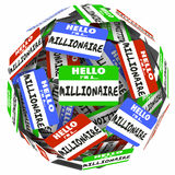 Hello I'm a Millionaire Nametag Sticker Sphere Earn Money Rich W Stock Image