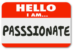 Hello I Am Passionate Words Nametag Sticker Stock Photography