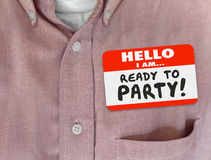 Hello I Am Ready to Party Name Tag Pink Shirt Stock Photos