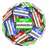 Hello I am Responsible Name Tags Sphere Responsibility 3d Illustration vector illustration