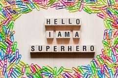 Hello i am super hero words concept stock image