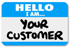 Hello I am Your Customer Nametag Sticker Stock Photography