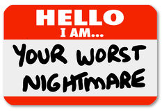 Hello I am Your Worst Nightmare Nametag Sticker Stock Photo