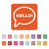 The hello icon. Greet and hi symbol. Flat Stock Image