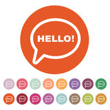 The hello icon. Greet and hi symbol. Flat Royalty Free Stock Images