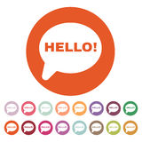 The hello icon. Greet and hi symbol. Flat Royalty Free Stock Image