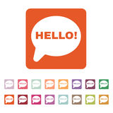 The hello icon. Greet and hi symbol. Flat. Vector illustration. Button Set Stock Photos