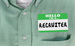 Hello Im a Recruiter Name Tag Hiring. 3d Illustration Stock Image