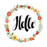 Hello ink handwritten lettering background and card with floral circle frame. Stock Images