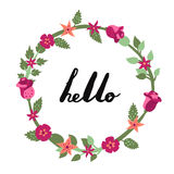Hello ink handwritten lettering illustration with floral circle frame. Part one. Royalty Free Stock Images