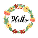Hello ink handwritten lettering illustration with floral circle frame. Part two. Stock Images