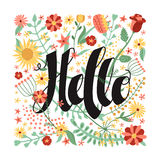 Hello ink handwritten lettering illustration with flowers and plants. Royalty Free Stock Photo