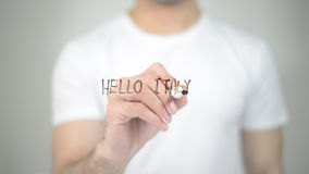 Hello Italy, man writing on transparent screen Royalty Free Stock Images