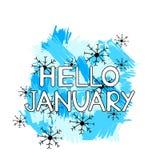 Hello Januari, blåa borsteslaglängder och snöflingor på den vita bakgrunden stock illustrationer