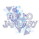 Hello Januari, blåa geometriska diagram och snöflingor på den vita bakgrunden vektor illustrationer