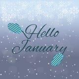 Hello Januari bokstäver på blå bakgrund Fotografering för Bildbyråer