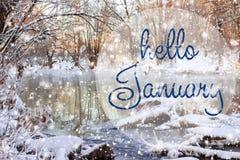 Hello Januari hälsningkort Begrepp för vinterferier arkivbild
