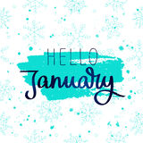 Hello Januari Trendkalligrafin stock illustrationer