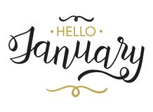 Hello Januari - typografi, handbokstäverkalligrafi stock illustrationer