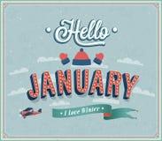 Hello januari typografisk design. vektor illustrationer