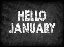 Hello january. Black board with texture, background. Hello january. Black board with texture background Stock Image