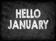 Hello january. Black board with texture, background. Hello january. Black board with texture background stock illustration