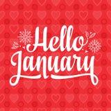 Hello January card. Holiday decor. Lettering. Hello Janary card. Holiday colorful decor. Vector Royalty Free Stock Photography
