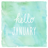Hello January on green and blue on watercolor background.  royalty free illustration