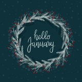 Hello January Hand Lettering Greeting Card. Modern Calligraphy. Winter Wreath. vector illustration