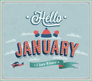 Hello january typographic design. Stock Photo