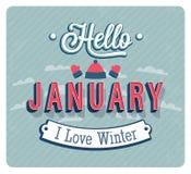 Hello january typographic design. Stock Image