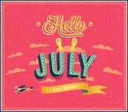Hello juli typografisk design. Royaltyfria Bilder