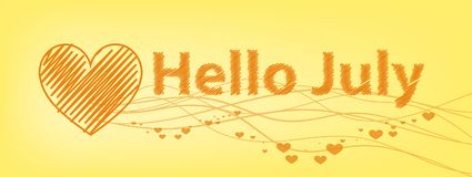 Hello July inscription. on a yellow Royalty Free Stock Photos