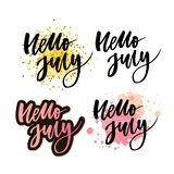 Hello july lettering print. Summer minimalistic illustration. Isolated calligraphy on white background. Orange rays behind text. Hello july lettering print vector illustration