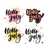 Hello july lettering print. Summer minimalistic illustration. Isolated calligraphy on white background. Orange rays behind text. Hello july lettering print stock illustration