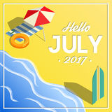Hello july summer vacation isometric banner Royalty Free Stock Photos