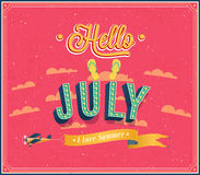 Hello july typographic design. Royalty Free Stock Images