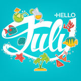Hello July. Vector template for your summer banner, card and flyer Royalty Free Stock Photo