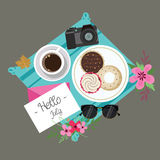 Hello July welcome spring summer session donuts coffee flower camera and glasses Royalty Free Stock Photos