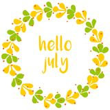 Hello july wreath sunny yellow and green vector card Royalty Free Stock Photo