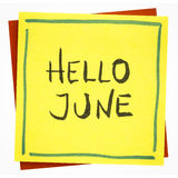Hello June - greetings note Royalty Free Stock Photo