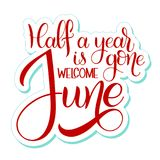 Hello June lettering. Elements for invitations, posters, greeting cards. Seasons Greetings vector illustration