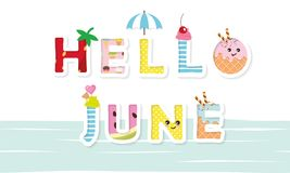 Hello june poster. Cartoon letters. Hello june poster. Cartoon kawaii letters. Vector Royalty Free Stock Photo