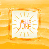 Hello june with sun sign in square frame, summer yellow drawn la Royalty Free Stock Images